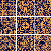 Arabic seamless floral patterns with set of orange arabesque ornaments with flowers, leaves and geometric ethnic motifs on dark blue background. Tile and textile print design