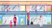 arabic visitors walking modern shopping mall with clothes boutiques and coffee shops supermarket retail store interior arab people in traditional clothes horizontal full length flat vector illustratio