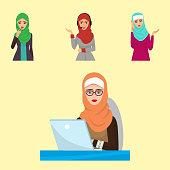 Arabic woman character Arabian Asia nationality islamic girl vector illustration. Cute arabic girl traditional dress pretty ethnicity religious people. Business ethnic portrait hijab.
