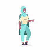arabic woman in hijab african muslim girl wearing headscarf traditional clothes standing pose arabian female cartoon character full length flat vector illustration