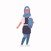 arabic woman in hijab arab girl wearing headscarf traditional clothes standing pose arabian female cartoon character full length flat vector illustration