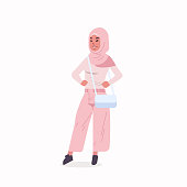 arabic woman in hijab arab girl wearing headscarf traditional clothes standing pose arabian female cartoon character with handbag full length flat vector illustration