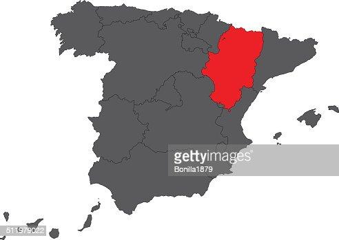 Aragon Red Map On Gray Spain Map Vector Vector Art Thinkstock