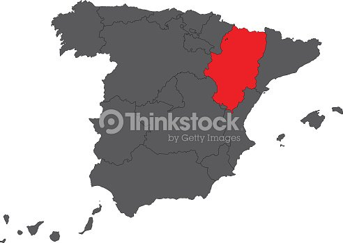 Aragon Red Map On Gray Spain Map Vector Vector Art Thinkstock