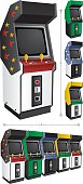 Arcade game machine in 4 different color versions. They can be placed side by side like those below. Place the name of the game, or other text, in the blank space above the screen.