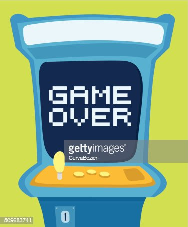 Arcade machine showing game over message : Vector Art