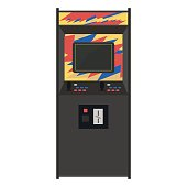 Arcade machine vector illustration. Geek gaming retro gadgets from the nineties. Old game entertainment devices of the 90s. Coin-op from the 20th century