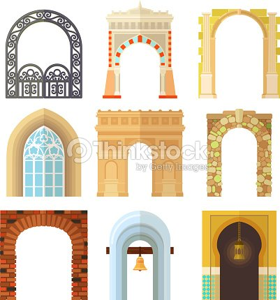 Arch design architecture construction frame classic, column structure gate door facade construction vector illustration