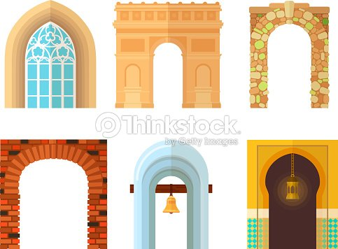 Arch design architecture construction frame classic, column structure gate door facade and gateway building ancient construction vector illustration