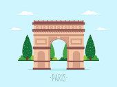 Arch of Triumph. Flat design style.