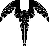 Isolated vector illustration of angel with long sword, front view.