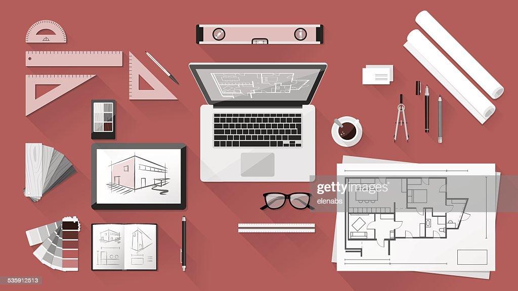 Arquitecto escritorio : Arte vectorial