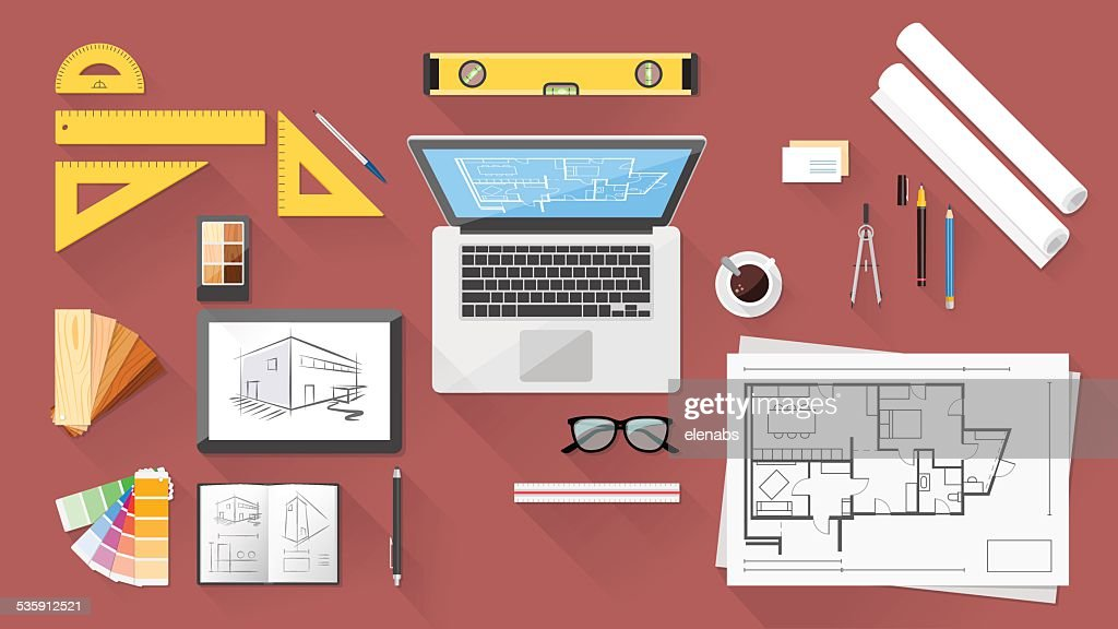 Architect desk : Vector Art