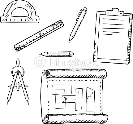 Architect Drawing And Tools Sketches Vector Art