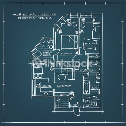 Architectural blueprint floor plan vector art thinkstock architectural blueprint floor plan vector art malvernweather Image collections