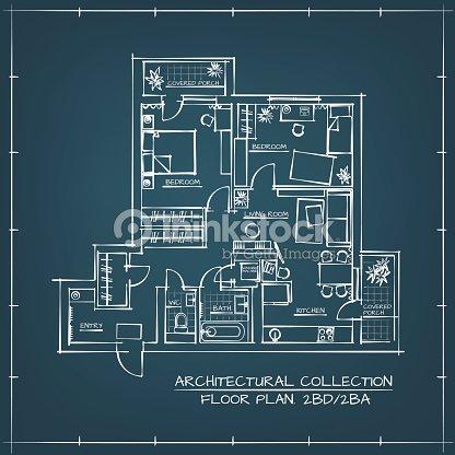 Architectural blueprint floor plan vector art thinkstock architectural blueprint floor plan vector art malvernweather Image collections