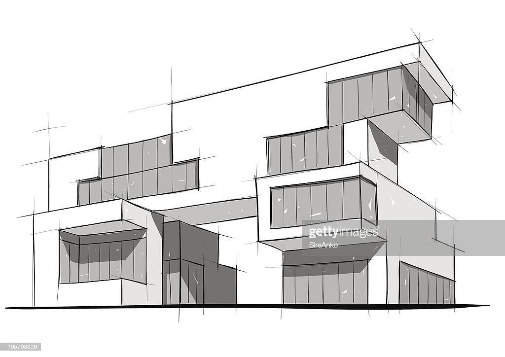 Architectural Sketch Of A Modern Building Vector Art Getty Images