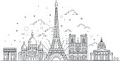 Vector illustration drawn in a linear style, it shows the main symbols of France. Paris vector icon. Paris building outline.