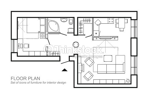 Architectural plan of a house layout of the apartment top view with architectural plan of a house layout of the apartment top view with the furniture in ccuart Gallery