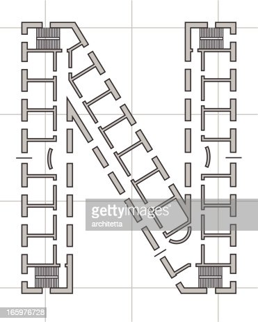 architectural plan of letter n vector art getty images
