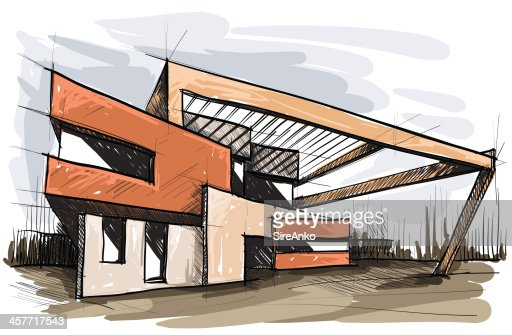 Modern Architecture Sketch architectural sketch of a modern building vector art | getty images