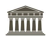 Architecture greek temple icon isolated on white background. Vector illustration flat architecture design. Building ancient monument symbol icon. Column pillar parthenon landmark. Famous architecture