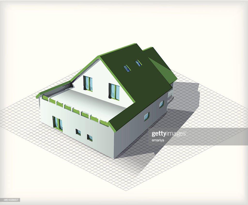 Casa modello di architettura in cima cianografie arte for Piccola casa produttrice di cianografie