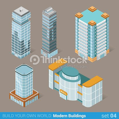Architecture modern business buildings icon set flat 3d isometric web illustration vector. Business center mall public government and skyscrapers. Build your own world web infographic collection.