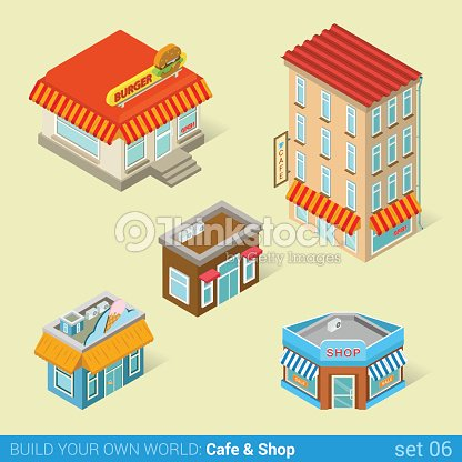 Architecture modern city business buildings icon set flat 3d isometric web illustration vector. Business center mall public government and skyscrapers. Build your own world web infographic collection.
