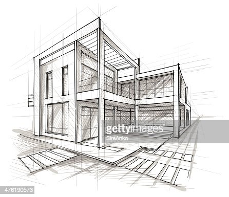 Architecture vector art getty images for Architecture house drawing