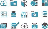 Vector icons pack - Blue Series, archive collection.