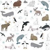 Arctic and antarctic polar doodle cartoon animals illustrations hand drawn seamless pattern