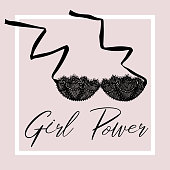 Сard with a picture of a bra. Lettering Girl Power. Sexy symbol collection for women underwear. For business cards, posters, advertising booklets. - Векторная графика