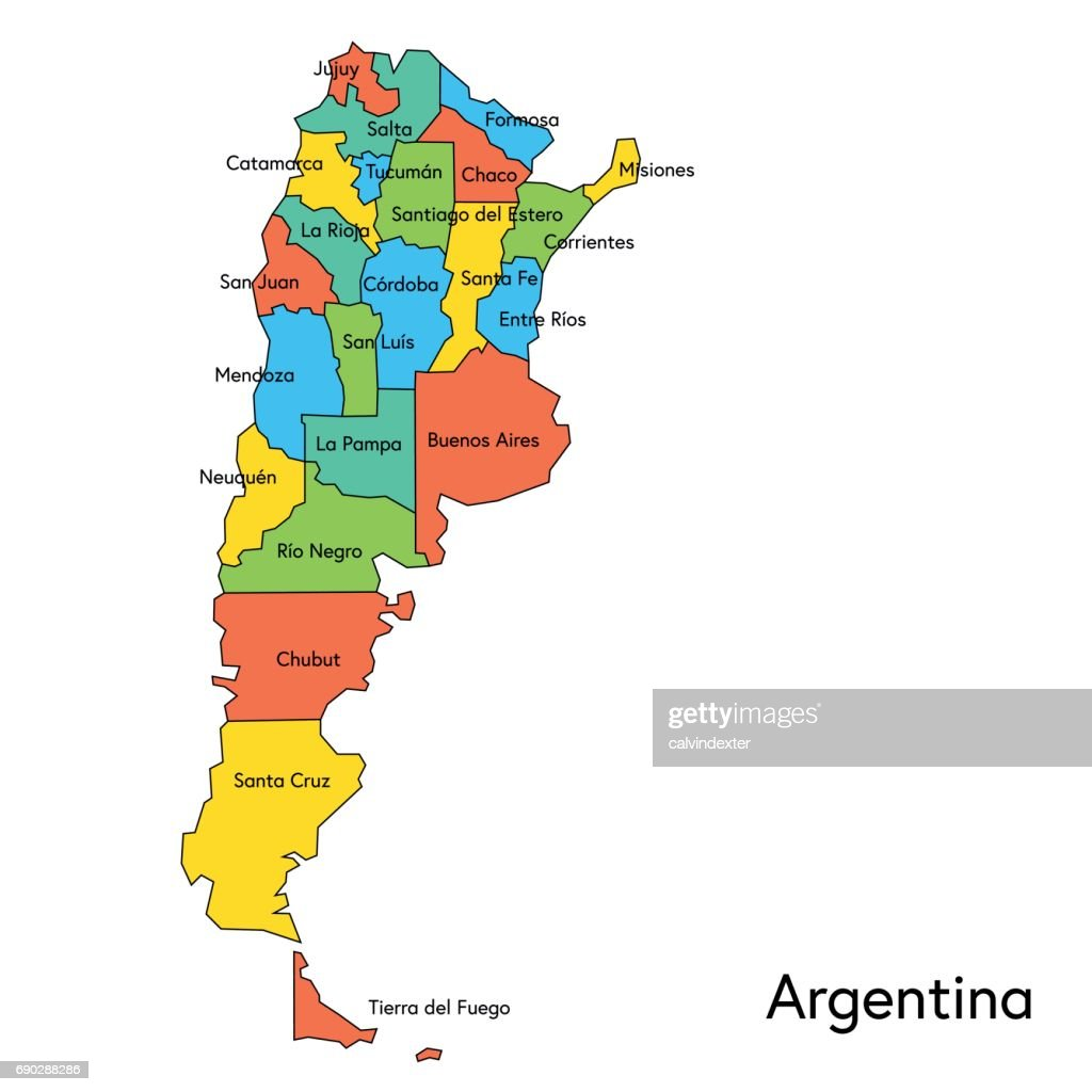 Argentina Color Map With Regions And Names Vector Art Getty Images - Argentina map vector free