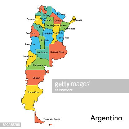 Argentina Color Map With Regions And Names Vector Art Getty Images - Argentina map vector