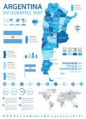 Argentina infographic map and flag - vector illustration