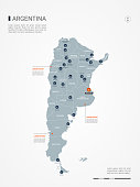 Argentina map with borders, cities, capital and administrative divisions. Infographic vector map. Editable layers clearly labeled.