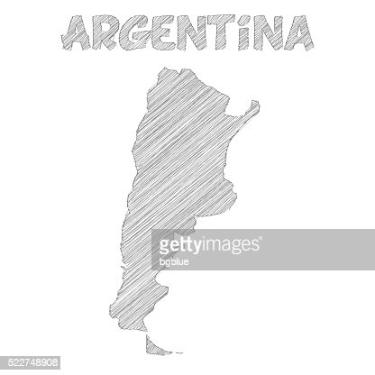 Argentina Map Hand Drawn On White Background Blue Highlighter - Argentina map black and white