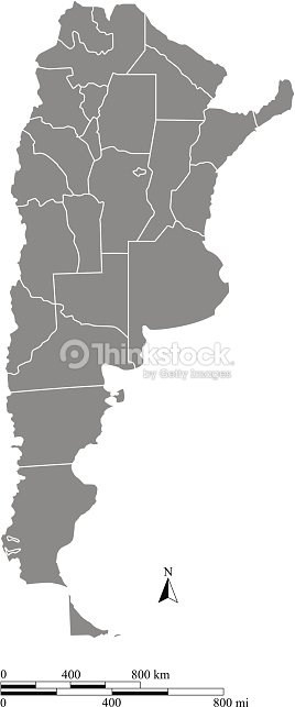 Argentina Map Outline Vector With Scales Of Miles And Kilometers - Argentina map outline