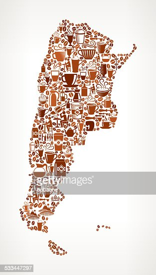 Argentina Map On Royalty Free Coffee Bean Pattern Background - Argentina map vector