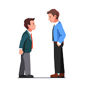 Tall and short business men wearing suits arguing, yelling. Aggressive coworkers verbal fight conflict. Angry business people characters disagreement argument. Flat vector illustration