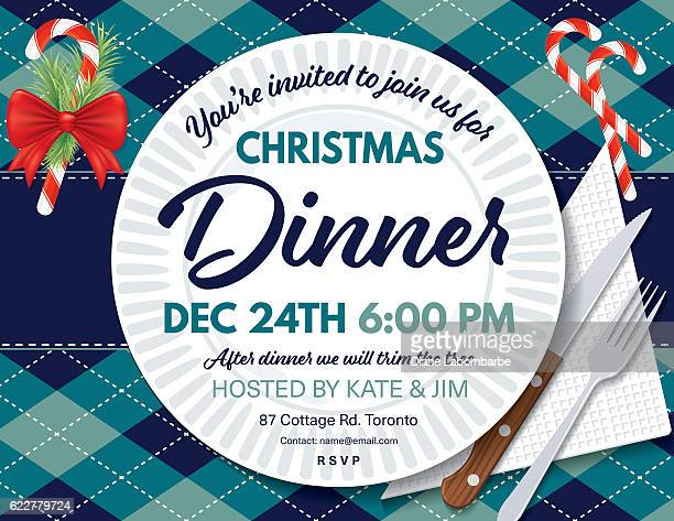 Argyle Tablecloth Christmas Dinner Invitation Template