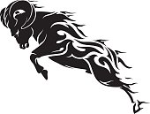 Isolated vector illustration of charging ram or sheep with flame trail body.