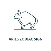 Aries zodiac sign vector line icon, outline concept, linear sign