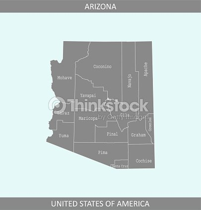 Arizona County Map Vector Outline Gray Background Counties