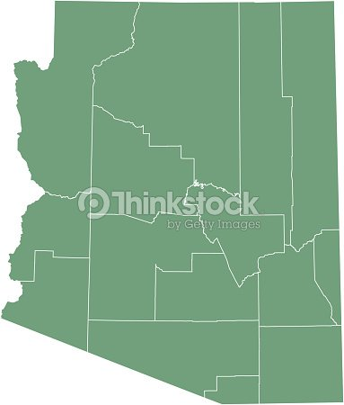 Arizona County Map Vector Outline Illustration Green Background ...