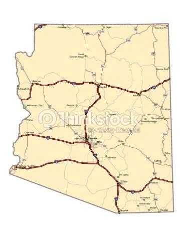 Map Of Arizona 1880.Arizona Highway Map Vector Art Thinkstock