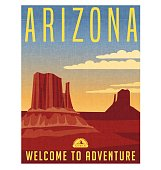 Arizona travel poster. Vector illustration of scenic desert landscape with buttes.
