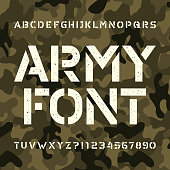 Army stencil alphabet font. Messy type letters and numbers on green camo background. Vector typeface for your design.