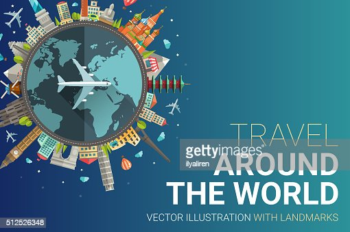 Around the world flat design postcard illustration : Vector Art